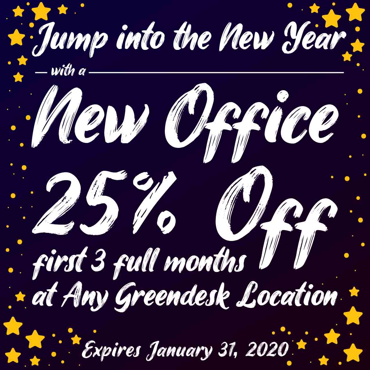 Jump into the New Year with a New Office - 25% Off Your first three months at any Greendesk Location Coupon. Expires January 31, 2020